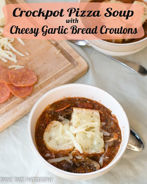 Crockpot Pizza Soup from Sweet Tewist of Blogging featured at ChocolateChocolateandmore