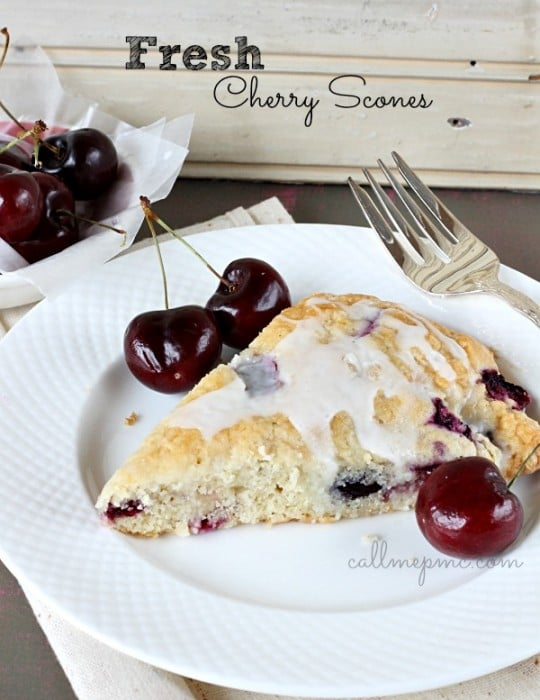 Fresh Cherry Scones from Call me PMC featured at ChocolateChocolateandmore