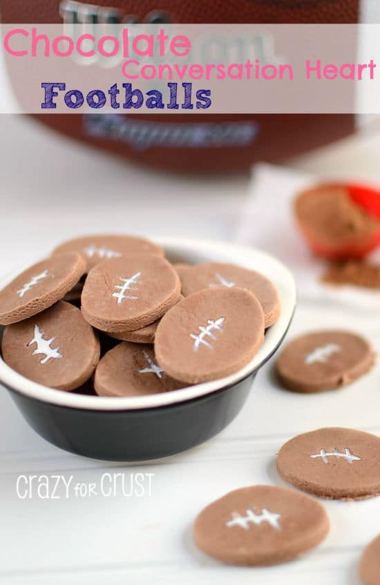 Chocolate Conversation Heart Footballs