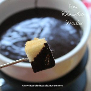 Easy Chocolate Fondue, perfect for dipping fresh fruit, cake, marshmallows, fun for the whole family!