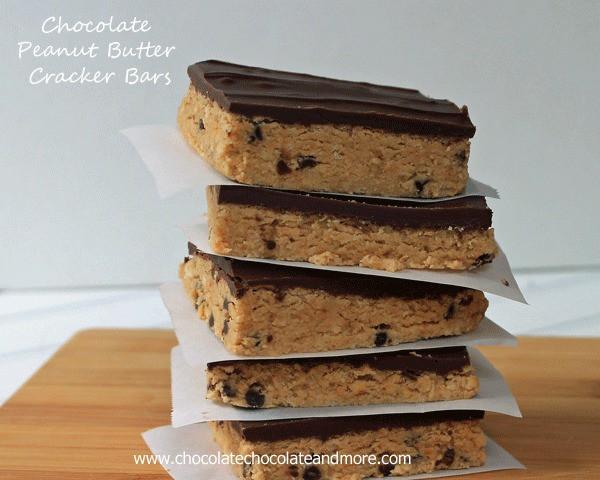 Chocolate Peanut Butter Cracker Bars-a great no-bake treat!