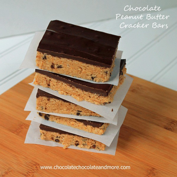 Chocolate Peanut Butter Cracker Bars-a great no-bake treat!