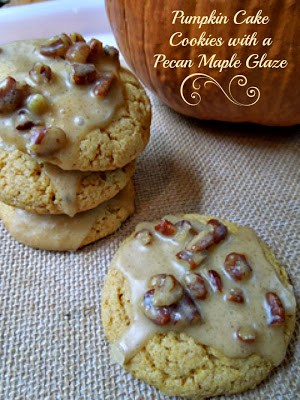 Pumpkin Cake Cookies with Pecan Maple Glaze