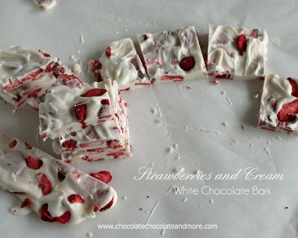 Strawberries and Cream White Chocolate Bark from www.ChocolateChocolateandmore.com -how can you go wrong with strawberries and white chocolate!