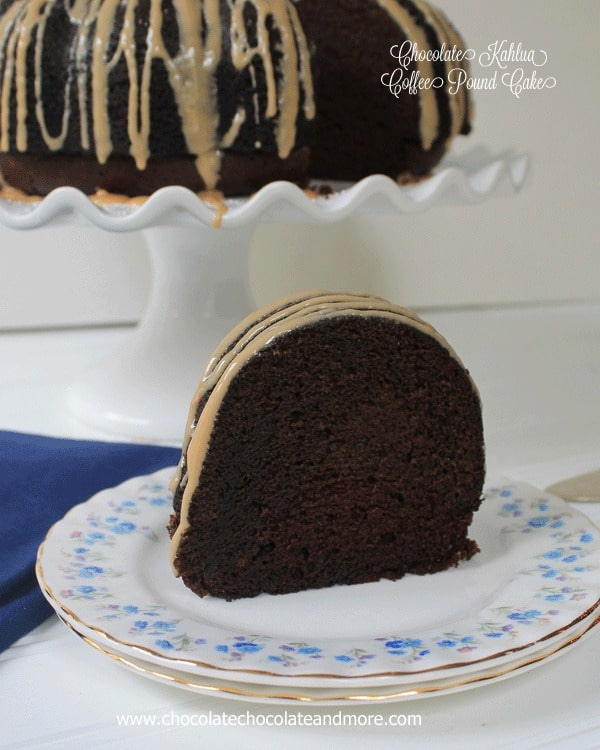 Chocolate Kahlua Coffee Pound Cake-This triple threat cake will be the perfect ending to any dinner party.