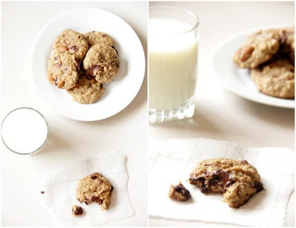 salted dark chocolate almond coconut oil cookies