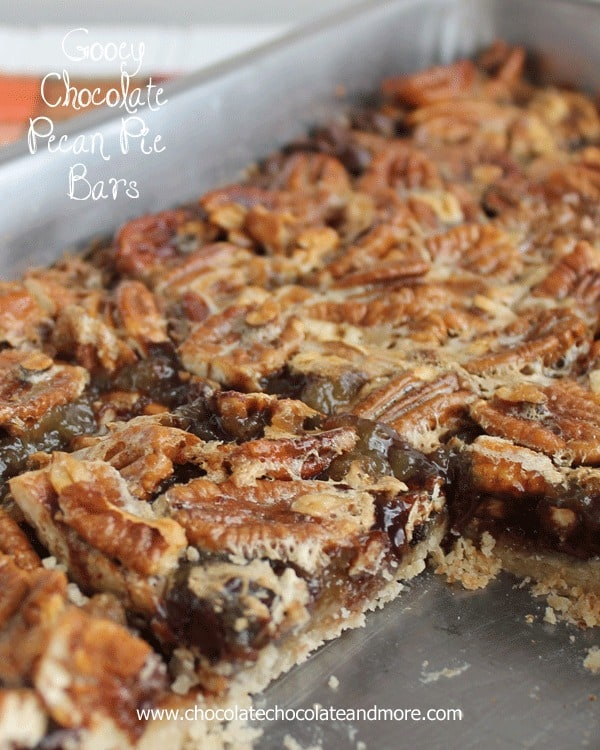 Gooey Chocolate Pecan Pie Bars-your favorite pecan pie loaded with ...