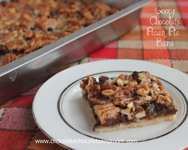 Gooey Chocolate Pecan Pie Bars-your favorite pecan pie loaded with semi-sweet chocolate and made into a bar for easy eating!