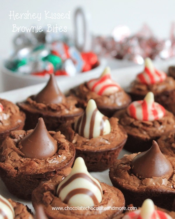 Hershey Kissed Brownie Bites-the perfect addition to any Holiday baking.