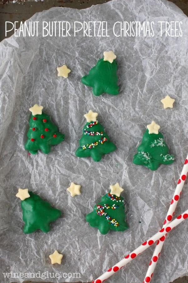 Peant Butter Pretzel Christmas Trees