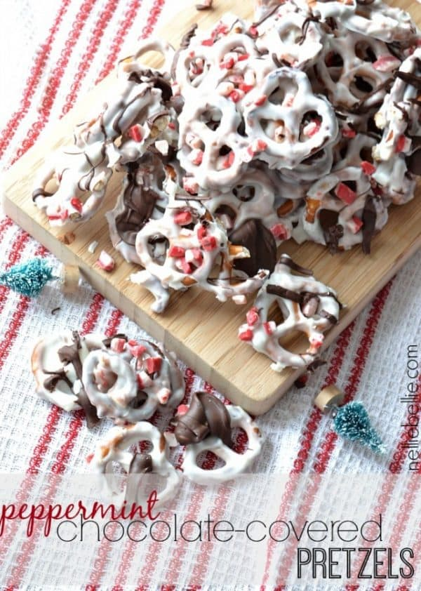 Peppermint Chocolate Covered Pretzels