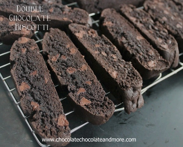 Double Chocolate Biscotti-made with Hershey's Special Dark cocoa and semi-sweet chocolate chips, this Biscotti will satisfy any chocolate lover!