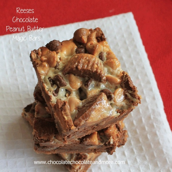 Because you can never have too much Peanut Butter and Chocolate-Reese's Chocolate Peanut Butter Magic Bars!