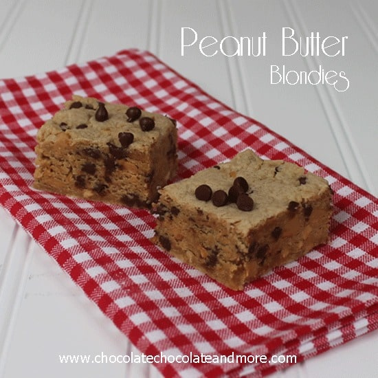 Peanut Butter Blondie Bars-with peanut butter chips and mini chocolate chips!