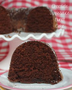 Chocolate Applesauce Bundt Cake-using applesauce makes for a delicious, moist cake, no frosting needed.