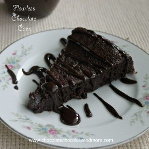 Flourless Chocolate Cake drizzled with Chocolate Ganache