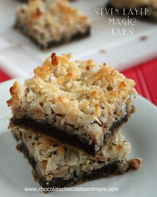Seven Layer magic Bars-the bar that started all the magic! Semi-sweet chocolate, peanut butter chips, pecans and coconut layered on top of a Graham cracker crust.