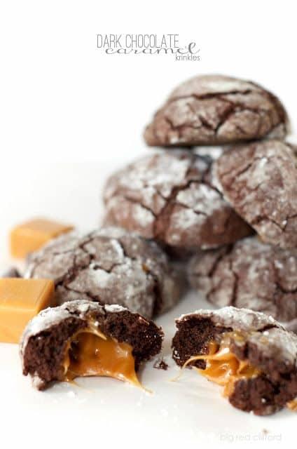 Dark Chocolate Caramel Krinkles-50 Cookie Recipes to Fill Your Cookie Jar | www.chocolatechocolateandmore.com