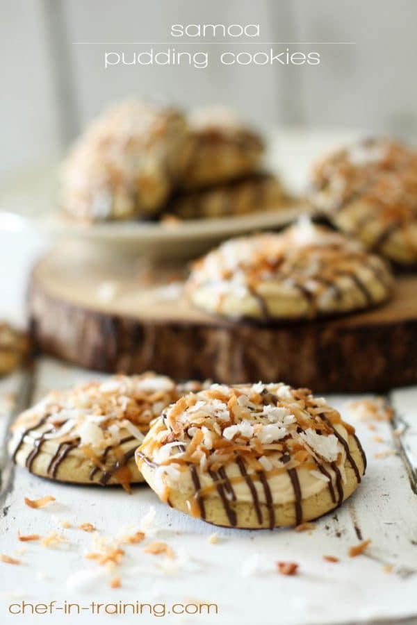 Samoa Pudding Cookies-50 Cookie Recipes to Fill Your Cookie Jar | www.chocolatechocolateandmore.com