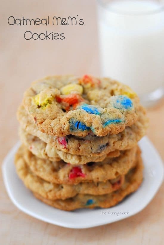 Oatmeal M&M Cookies-50 Cookie Recipes to Fill Your Cookie Jar | www.chocolatechocolateandmore.com