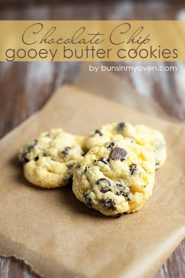 Chocolate Chip Gooey Butter Cookies-50 Cookie Recipes to Fill Your Cookie Jar | www.chocolatechocolateandmore.com