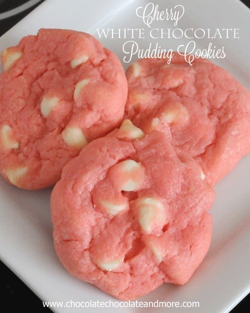 50 Pastel Desserts for Spring: Cherry White Chocolate Pudding Cookies