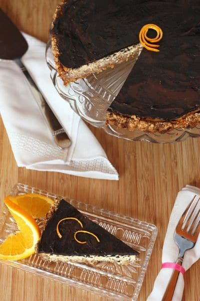 Dark Chocolate Orange Ricotta Tart with Honey Almond Crust
