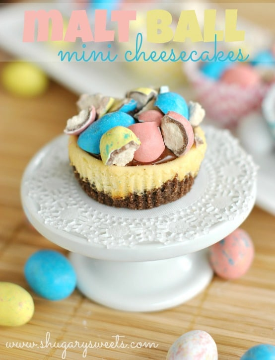 50 Pastel Desserts for Spring: Malt Ball Mini Cheesecakes