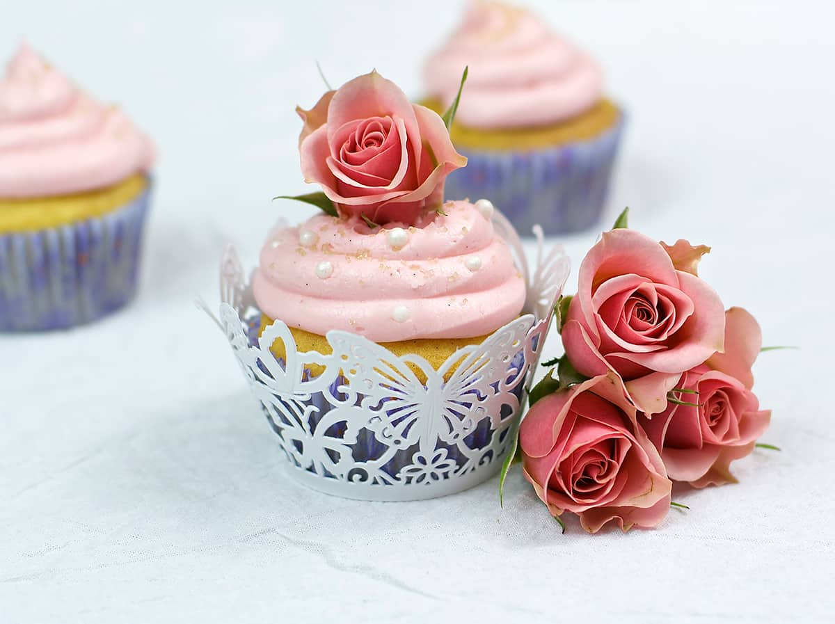 50 Pastel Desserts for Spring: Rose Water & Vanilla Bean Cupcakes