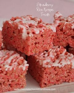 Glazed Strawberry Rice Krispie treats-pretty in pink, perfect for a party or just because!