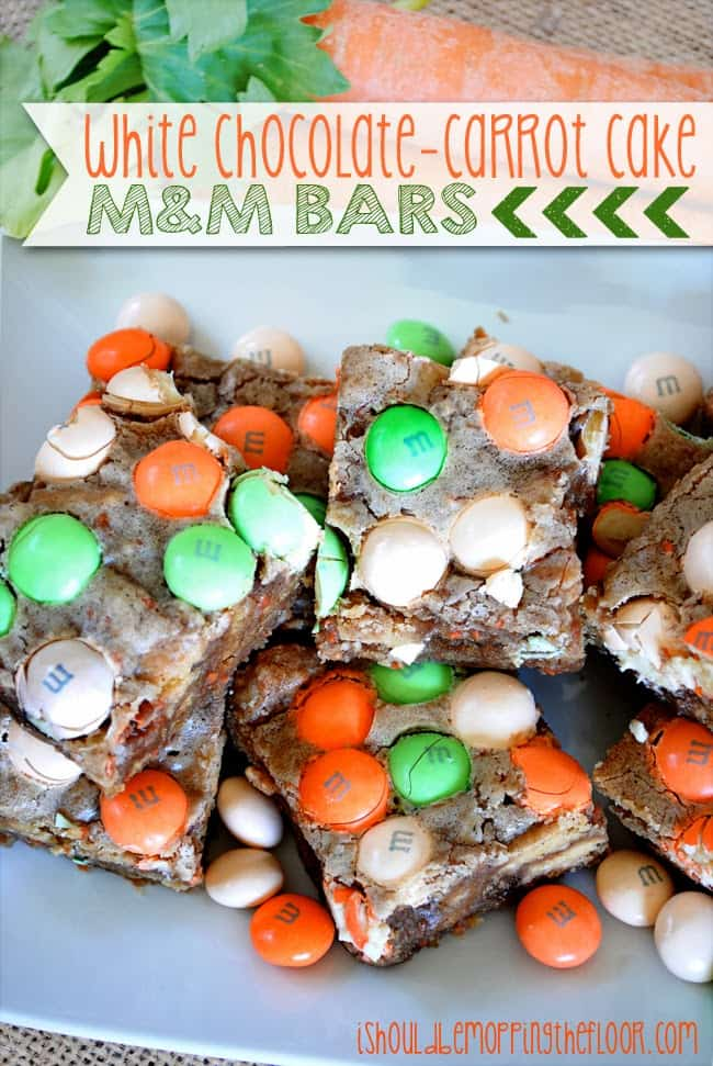 50 Pastel Desserts for Spring: White Chocolate Carrot Cake M&M Bars