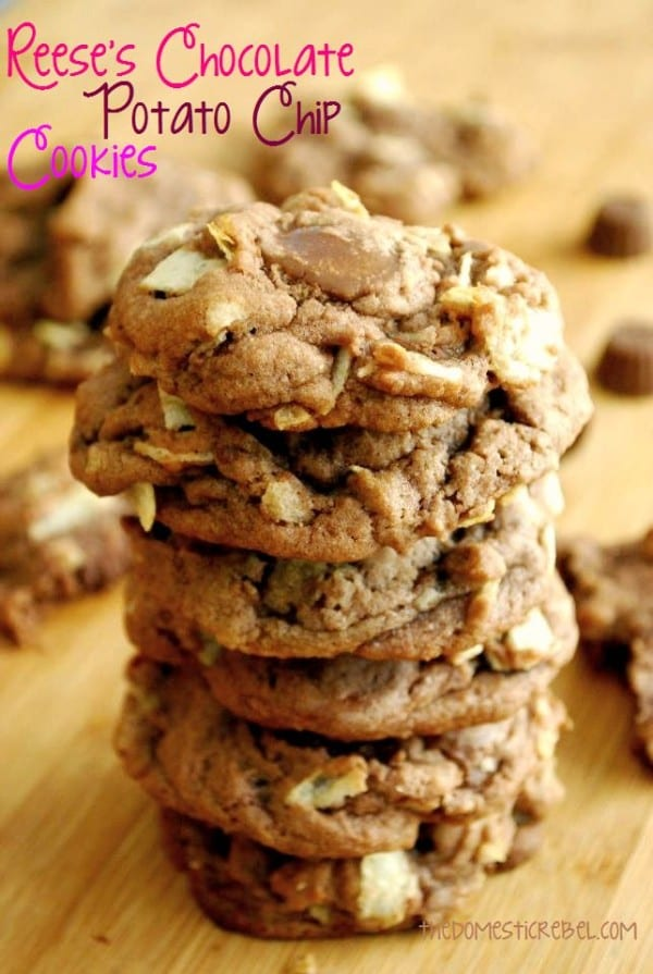 Reeses Chocolate potato Chip Cookies-50 Cookie Recipes to Fill Your Cookie Jar | www.chocolatechocolateandmore.com