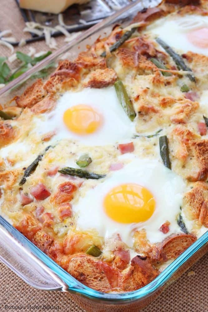 50 Easy to Make Breakfast Recipes: Caramelized Onion and Asparagus Strata