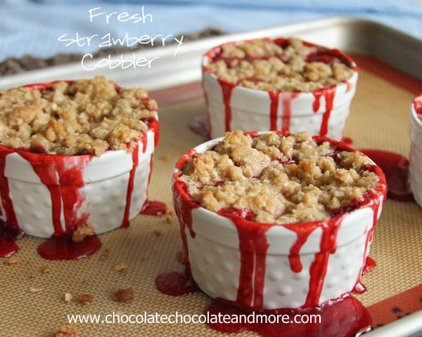 Fresh Strawberry Cobbler-Individual cobblers bursting with fresh berry flavor and a crumb topping!