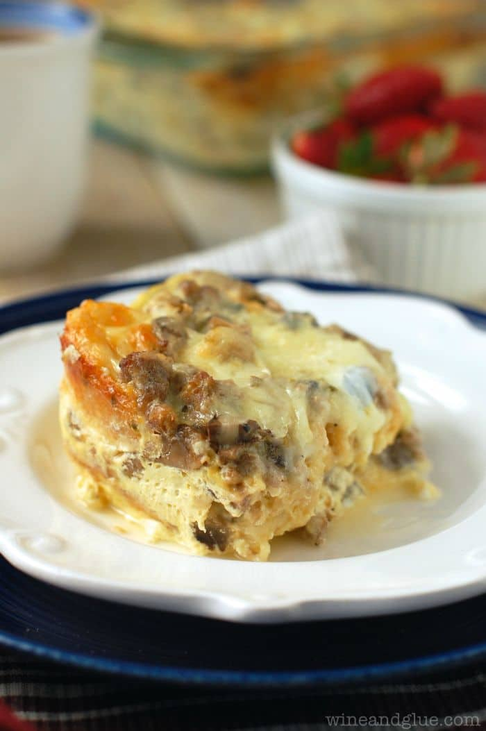 50 Easy to Make Breakfast Recipes: Sausage and Mushroom Overnight Breakfast Strata