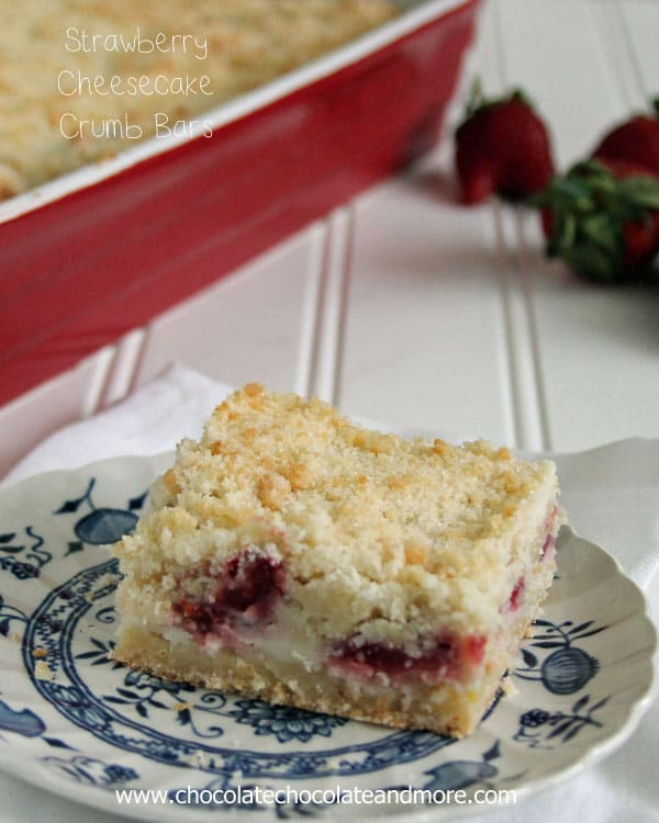 Strawberry Cheesecake Crumb bars-the delicious taste of Strawberry Cheesecake surrounded by a sweet crumb bar!