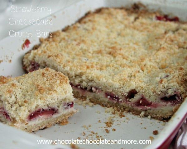 Strawberry Cheesecake Crumb bars-the delicious taste of Strawberry Cheesecake surrounded by a sweet crumb bar!