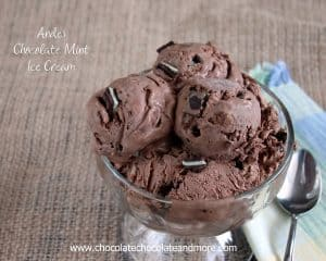 Andes Chocolate Mint Ice Cream-created using Andes Mints and no machine needed!