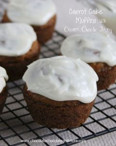 Carrot Cake Muffins with Cream Cheese Icing-the great flavor of Carrot Cake in a muffin!