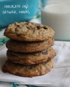 Chocolate Chip Oatmeal Cookies-using all brown sugar and a touch of cinnamon creates a tasty cookie!