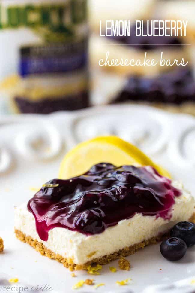50 No Bake Treats: No Bake Lemon Blueberry Cheesecake Bars