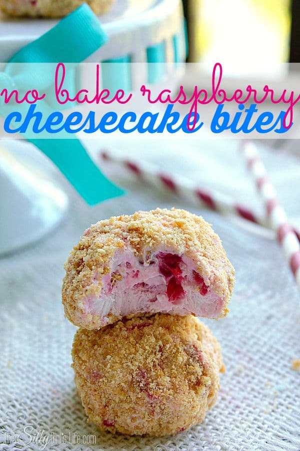 50 No Bake Treats: No Bake Raspberry Cheesecake Bites