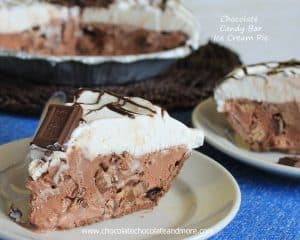 Chocolate Candy Bar Ice Cream Pie-an easy dessert to cool down on a hot day and the kids loving help make it!
