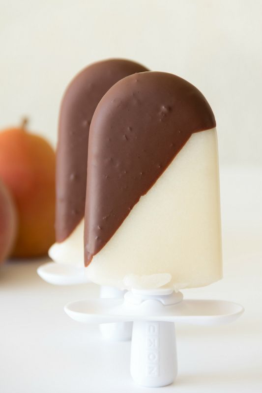 50 Popsicles: Chocolate Dipped Pear Popsicles