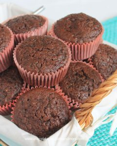 Double Chocolate Zucchini Muffins-using Zucchini in your muffins makes them so moist and counts as part of your daily veggies!