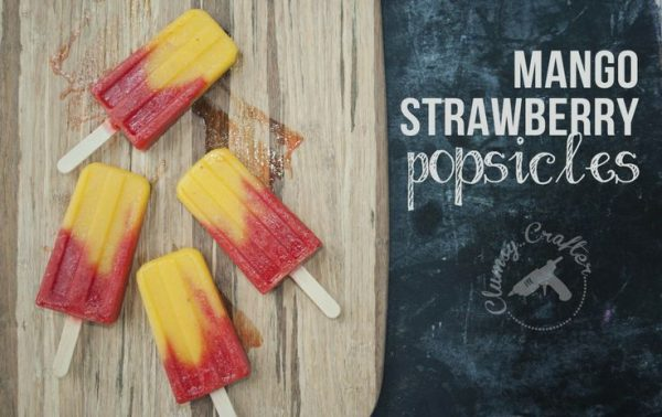 50 Popsicles: Mango Strawberry popsicle