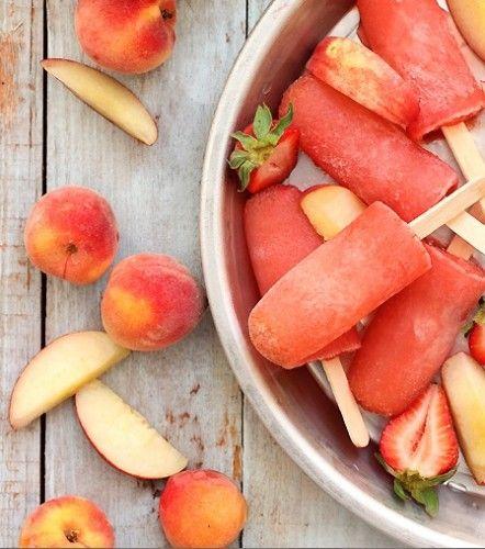 50 Popsicles: Strawberry Peach Vodka Peach Collins