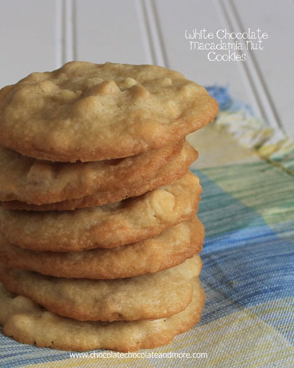 White Chocolate Macadamia Nut Cookies-A crisp vanilla cookie with lots of white chocolate and macadamia nuts in every bite!
