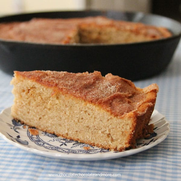 Brown Sugar Cinnamon Skillet Cake-don't let looks deceive you, this is a moist, full of cinnamon flavor cake, perfect for dessert or breakfast!