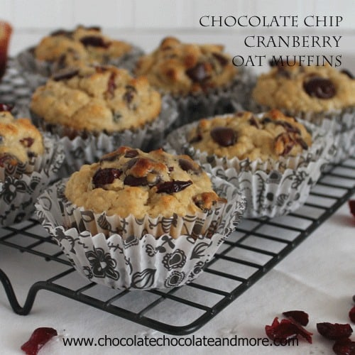 Chocolate Chip Cranberry Muffins-Bittersweet chocolate and tart Cranberries make for a tasty muffin!